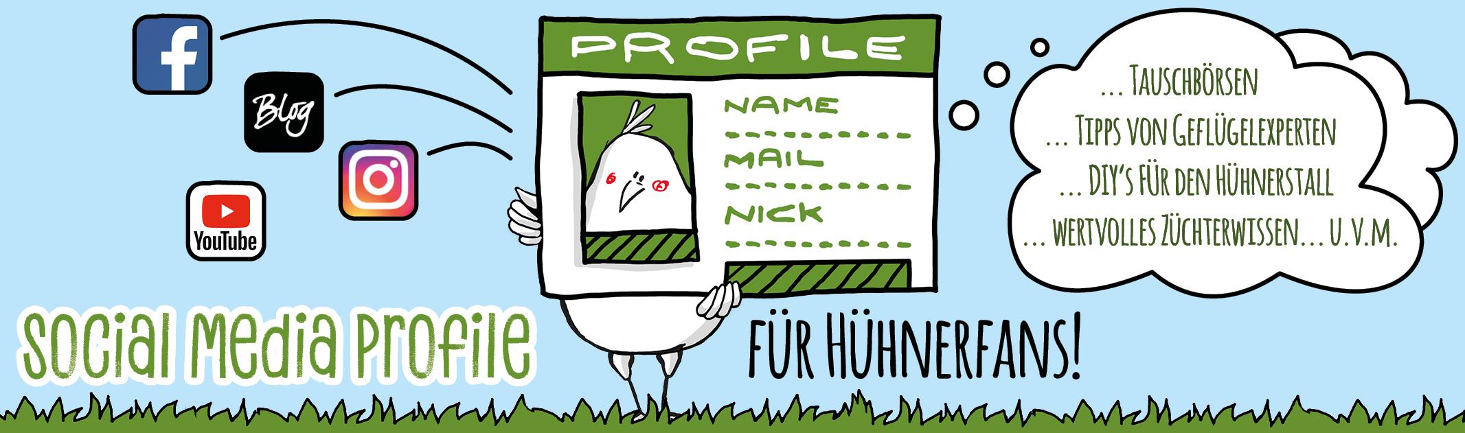 Social Media Profile für Hühnerfans