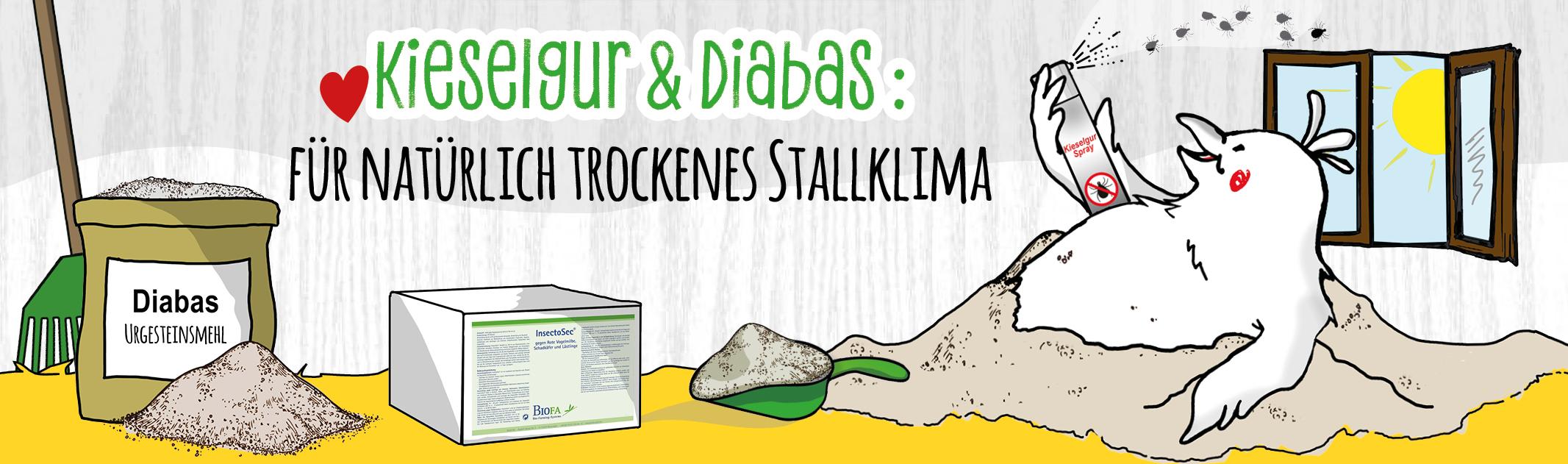Kieselgur & Diabas: für natürlich trockenes Stallklima