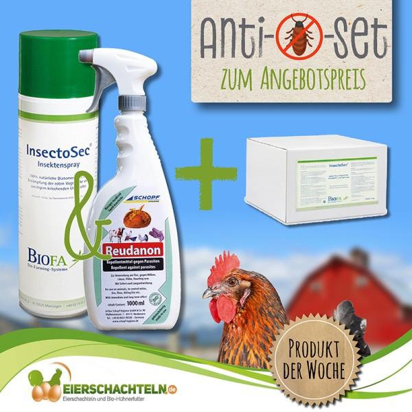 Anti-Milben-Set – Ungezieferbekämpfung: Am Geflügel mit Reudanon und im Stall mit Kieselgur