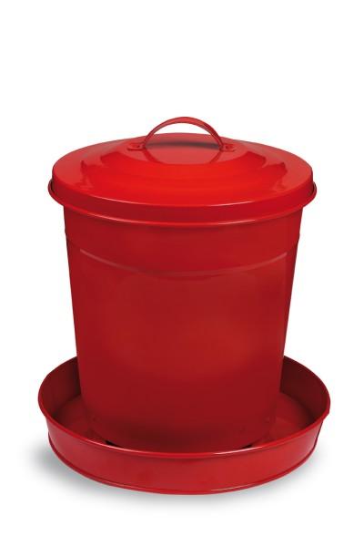 Futtersilo für Geflügel lackiertes Metall für 4 oder 6 kg Futter hellgrün oder rot