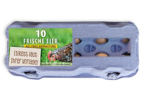 10er Eierschachtel-Etiketten laut Ihrer Druckvorlage (mit Sichtfenster)