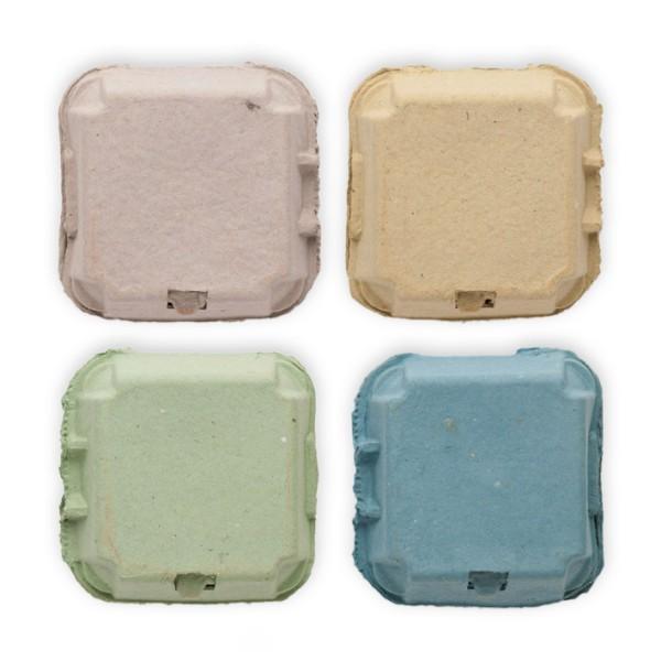 1 Stück EcoPack 4er Eierschachtel – in vier Farben