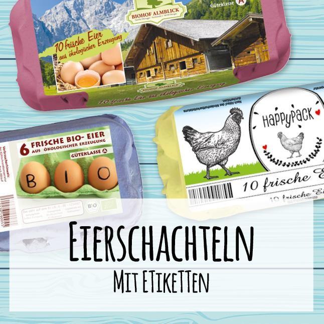 Eierschachteln mit Etiketten