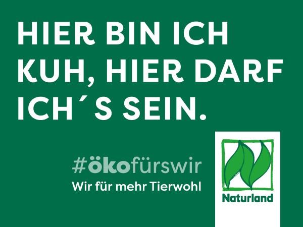 """Schild Naturland Haltungskampagne """"Hier bin ich Kuh, hier darf ich´s sein"""""""