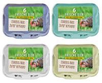 584 Stück 6er Eierkartons mit eigenem Etikett im Vorteilspaket grau