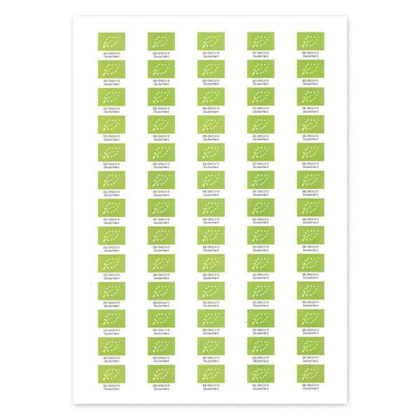 Bio Kontrollstellen Etikett – selbstklebend, mit EU-Bio-Siegel 6500 Stück