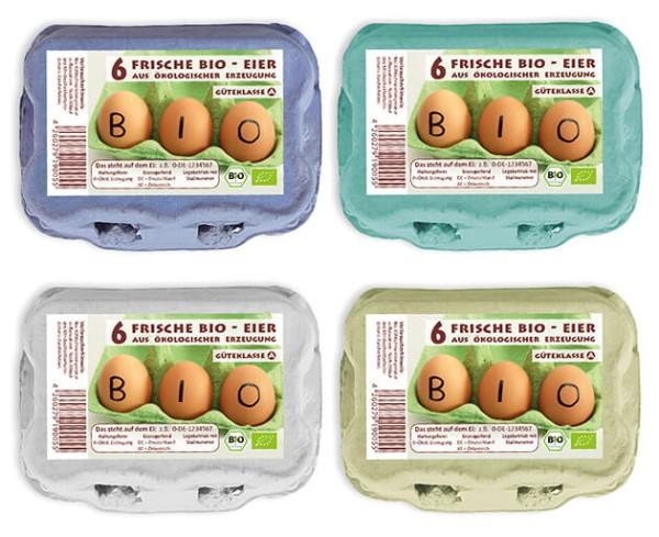 1 Stück 6er Eierkartons mit Aufdruck Bio