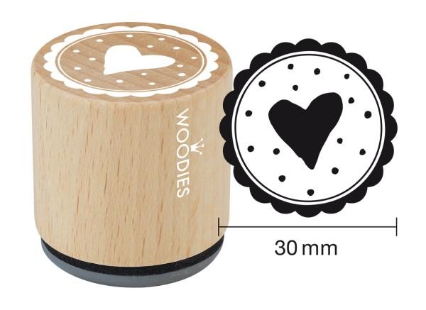 """Woodie Stempel Durchmesser 3 cm """"Herz mit Punkten"""""""