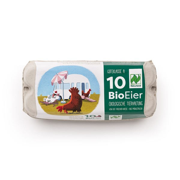 10er ComPac Eierschachtel mit Mobilstalletikett, Naturland – witziges Motiv 376 Stück