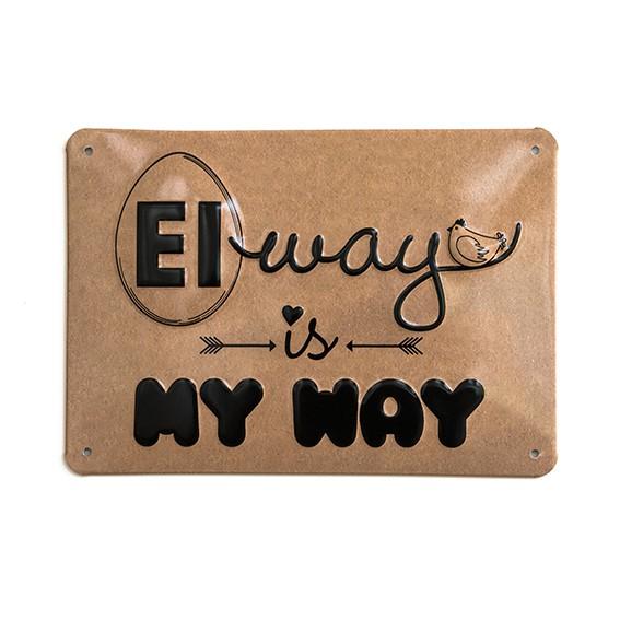 """Alu-Schild by Hühnergeschichten """"Eiway"""", gewölbt und geprägt 14,8 x 21 cm"""