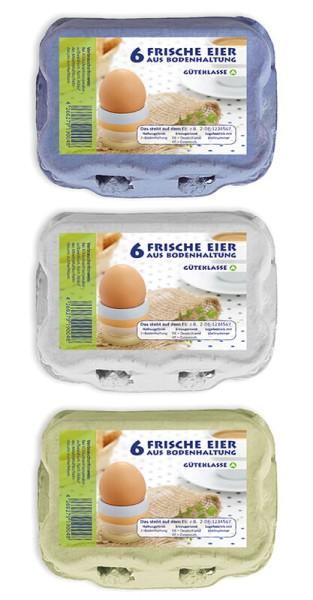 1 Stück 6er Eierschachtel mit Bodenhaltung