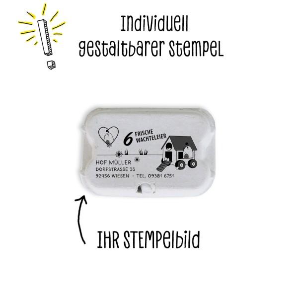 Stempel für Eierschachteln, 6er Wachteleierschachtel aus Pappe