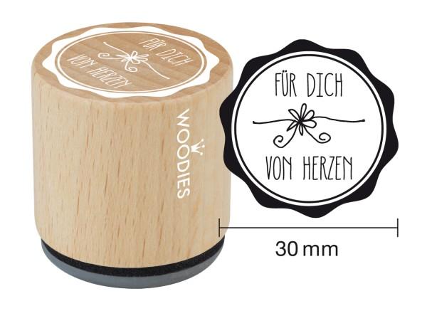 """Woodie Stempel Durchmesser 3 cm """"Für dich von Herzen"""""""