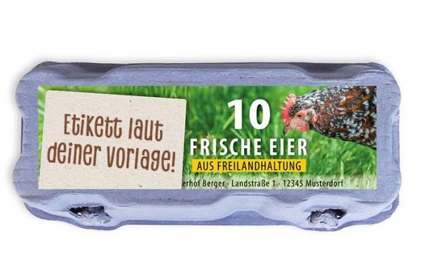 10er Eierschachtel-Etiketten laut deiner Druckvorlage (ohne Sichtfenster)