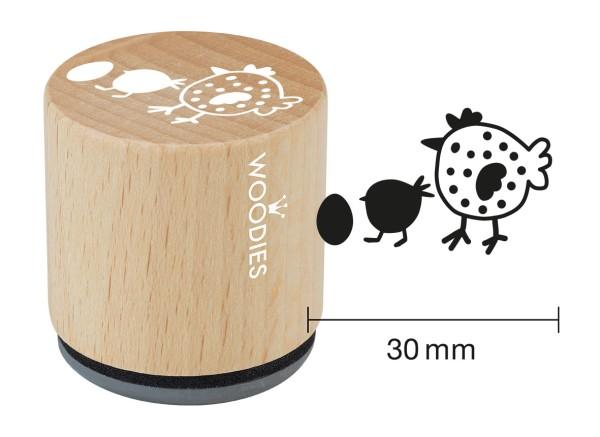"""Woodie Stempel Durchmesser 3 cm Edition Hühnergeschichten """"Hühnermama"""""""