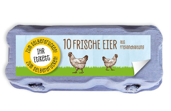 Etiketten zum Selberdrucken für 10er Eierschachteln ohne Sichtfenster