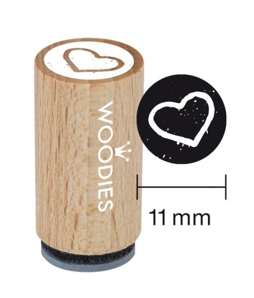 Mini-Woodie-Stempel Durchmesser 1,1 cm Herz