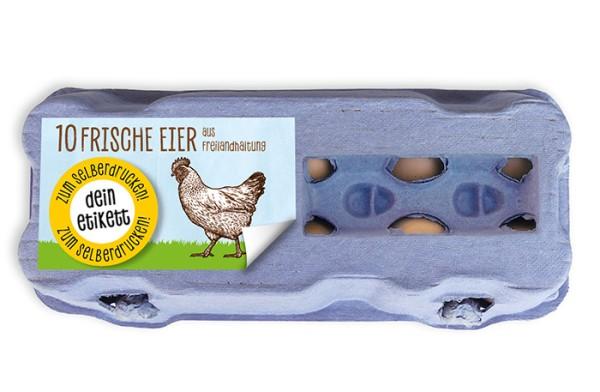 Etiketten zum Selberdrucken für 10er Eierschachteln mit Sichtfenster