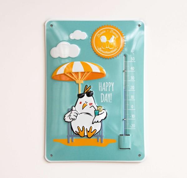 Blechschild mit Thermometer – cooles Huhn-Motiv by eierschachteln.de