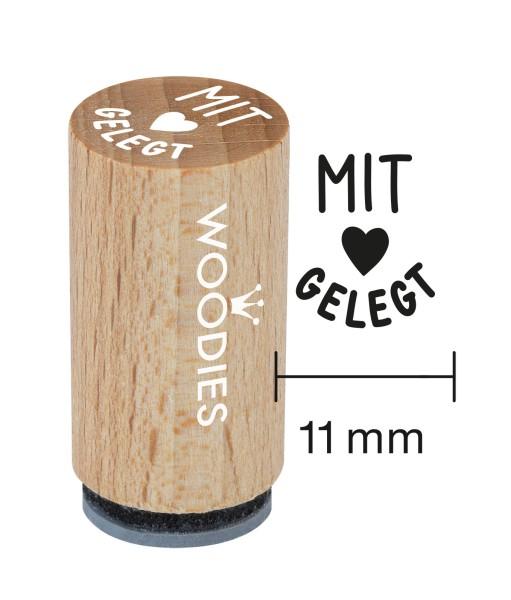 """Mini-Woodie-Stempel Durchmesser 1,1 cm Edition Hühnergeschichten """"Mit Liebe gelegt"""""""
