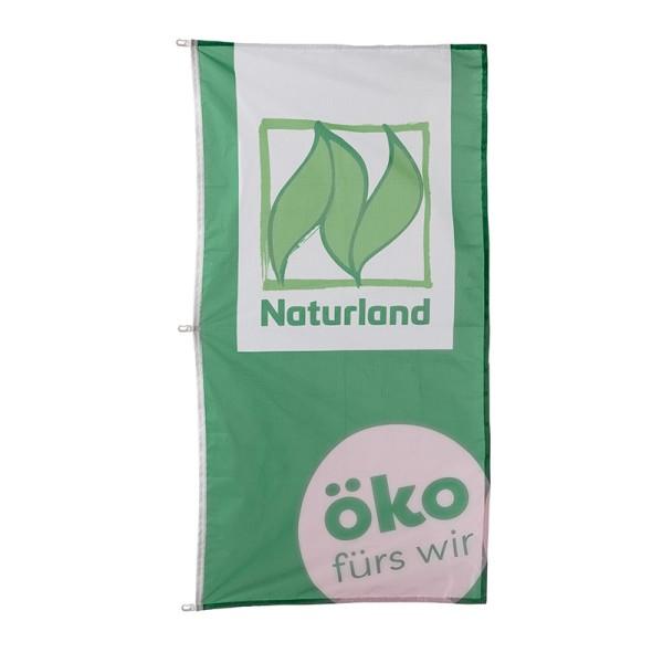 """Fahne """"Naturland"""" mit Druck """"öko fürs wir"""" 100 x 200 cm"""