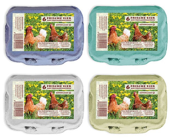 1 Stück 6er Eierverpackungen mit Freilandhaltung