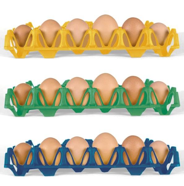 Wiederverwendbare Kunststoff Eierhorden / Höckerlagen für 30 Eier, blau, grün, gelb