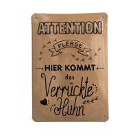 """Hochwertiges Alu-Schild Hühnergeschichten """"Attention"""" 14,8 x 21 cm"""