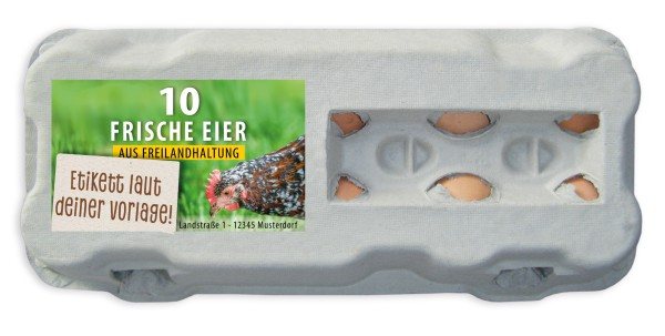 10er Eierschachtel-Etiketten laut deiner Druckvorlage (mit Sichtfenster)