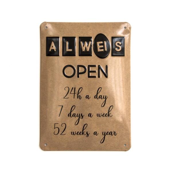 """Alu-Schild Hühnergeschichten """"Open"""", gewölbt und geprägt 14,8 x 21 cm"""