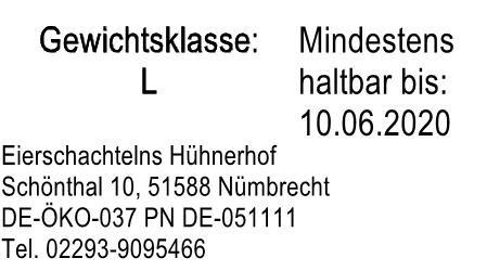 MHD Etiketten für Eierschachteln