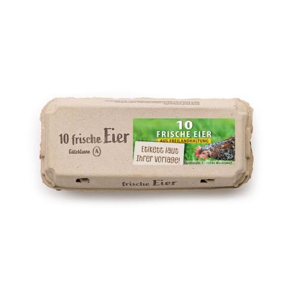 """308 Stück 10er Ecopack Aufdruck """"Frische Eier"""", Innendruck, individuelles Etikett Vorteilspaket"""