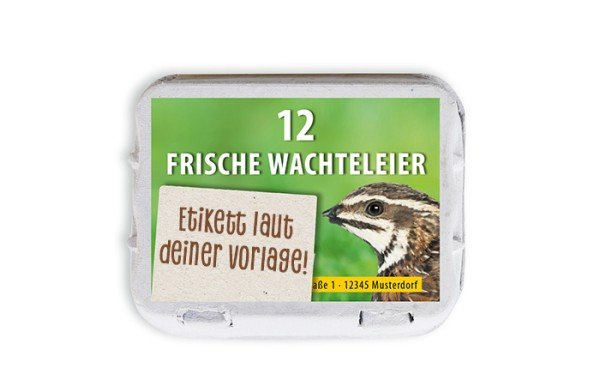 12er Wachtel-Eierschachtel-Etiketten laut deiner Druckvorlage