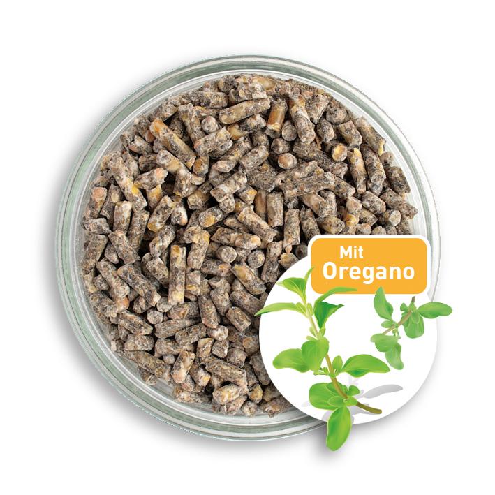 20 kg bio h hnerfutter pellets mit oregano f r h hner und wachteln kann eine gesunde verdauung. Black Bedroom Furniture Sets. Home Design Ideas