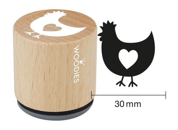 """Woodie Stempel Durchmesser 3 cm Edition Hühnergeschichten """"Huhn mit Herz"""""""