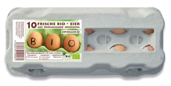 1 Stück 10er Eierkartons mit Etikett BIO-Haltung
