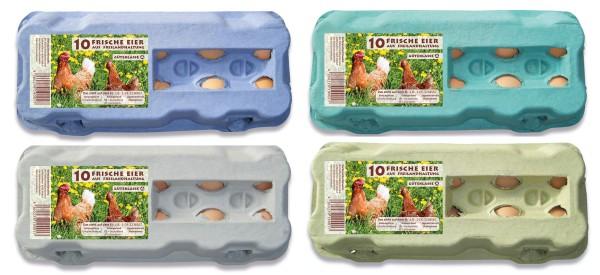 1 Stück 10er Eierschachtel mit Etikett für Freilandhaltung