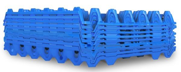 Wiederverwendbare Kunststoff Eierhorden / Höckerlagen für 30 Eier blau