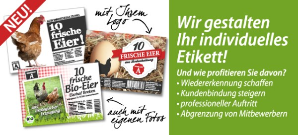 Wir gestalten Ihre Eierschachtel-Etiketten – Hofmarketing