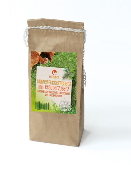 Bio Hühnerfutter Pellets mit Kräuterzusatz, 500 g – für freies Durchatmen
