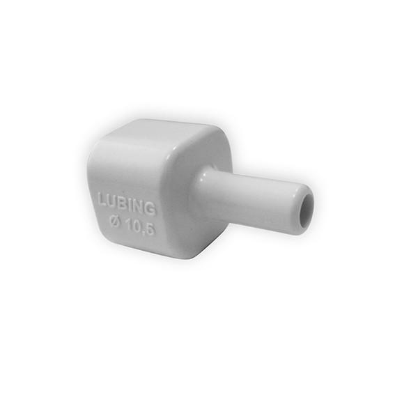 Schlauchanschluss für Vierkantrohr 22 x 22 mm – zum Anschluss eines 10 mm PVC Schlauches