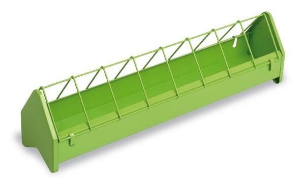 Futterrinne für Hühner aus hellgrün lackiertem Metall 50 cm