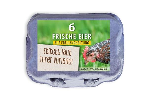 6er Eierschachtel-Etiketten laut Ihrer Druckvorlage