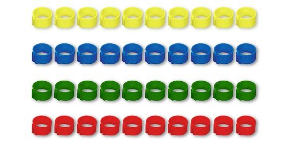 Geflügelclipsringe zur Kennzeichnung in verschiedenen Farben