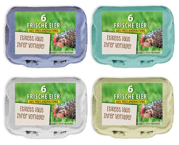 584 Stück 6er Eierkartons mit eigenem Etikett im Vorteilspaket
