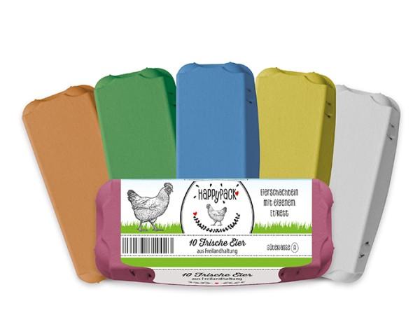 Mit eigenem Etikett: 3.600 Stück 10er Eierschachteln HappyPack
