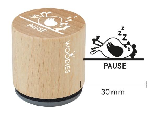"""Woodie Stempel Durchmesser 3 cm Edition Hühnergeschichten """"Pause"""""""