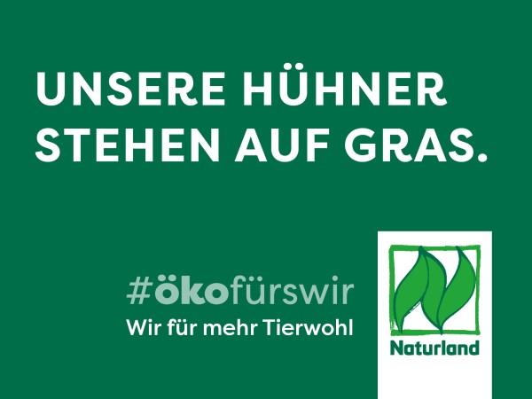 """Schild Naturland Haltungskampagne """"Unsere Hühner stehen auf Gras"""""""
