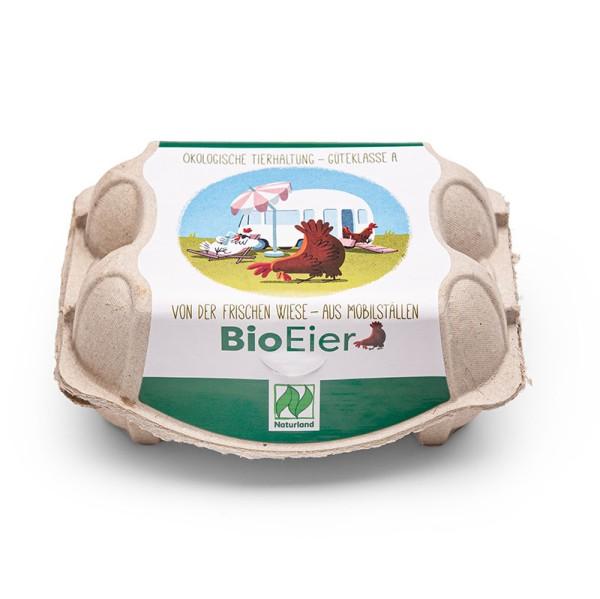6er Eierschachtel mit Mobilstalletikett, Naturland – einzigartiges Etikett 192 Stück