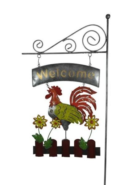 """Gartenstecker Hahn """"Welcome"""""""